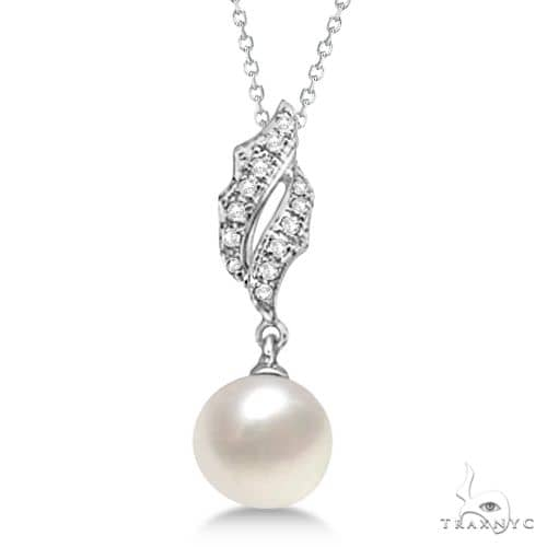 Freshwater Cultured Pearl and Diamond Pendant Necklace 14K W. Gold (7.50mm) Stone