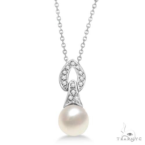 Diamond and Cultured Freshwater Pearl Pendant Necklace 14K White Gold 8mm Stone