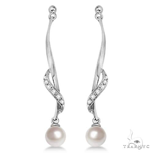 Freshwater Cultured Pearl and Diamond Drop Earrings .07ctw (6.50mm) Stone