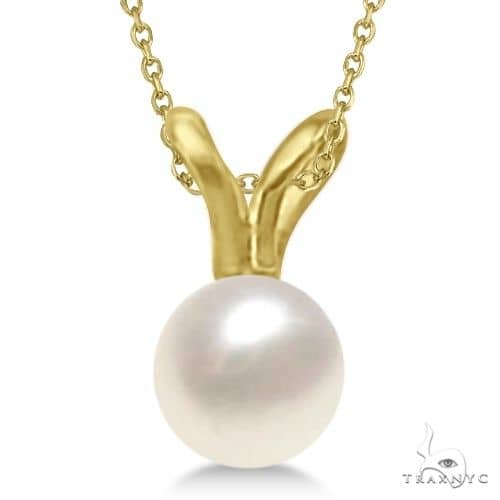 White Akoya Cultured Pearl Solitaire Pendant 14K Yellow Gold (6mm) Stone