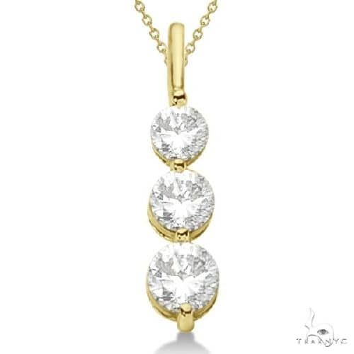 Three-Stone Graduated Diamond Pendant Necklace 14K Yellow Gold (1.05ct) Stone