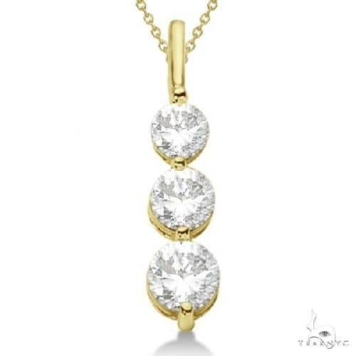 Three-Stone Graduated Diamond Pendant Necklace 14k Yellow Gold Stone