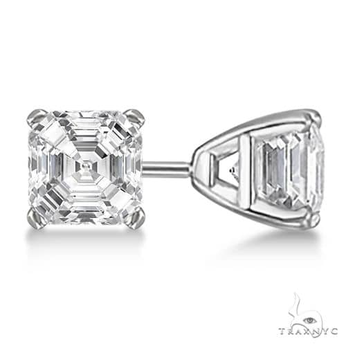 Asscher-Cut Diamond Stud Earrings Platinum G-H, VS2-SI1 Stone