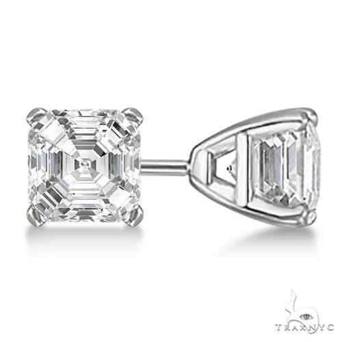 Asscher-Cut Diamond Stud Earrings Platinum G-H, VS2-SI1 Stone