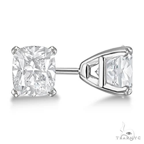 Cushion-Cut Diamond Stud Earrings 14kt White Gold H, SI1-SI2 Stone