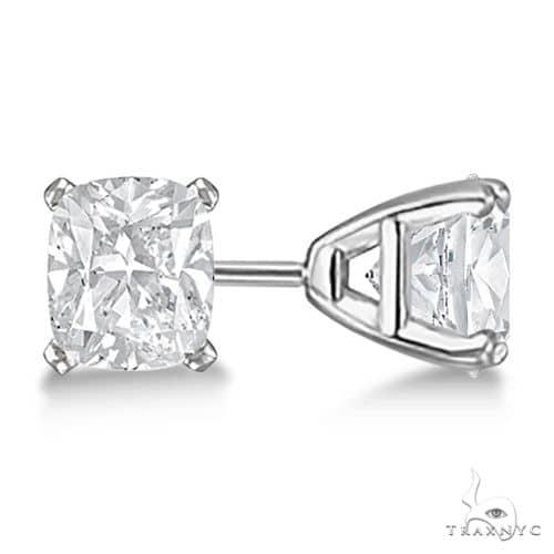 Cushion-Cut Diamond Stud Earrings 14kt White Gold H, SI1-SI2 Stone