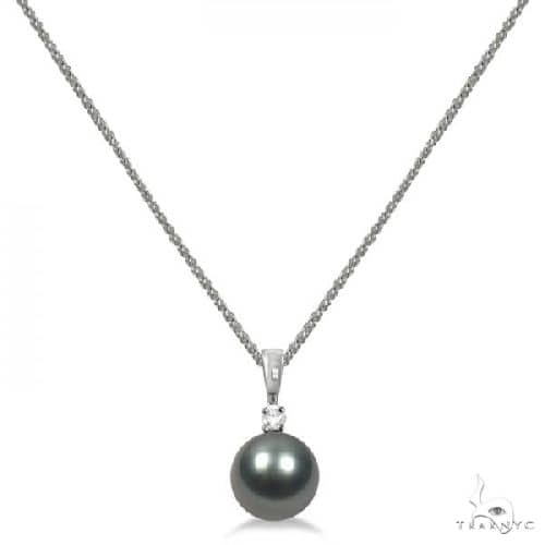 Diamond and Tahitian Black Pearl Solitaire Pendant  14K White Gold 8-9mm Stone