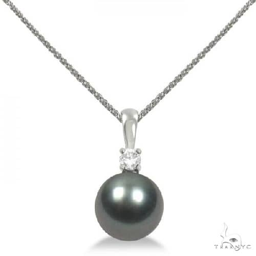 Diamond and Tahitian Black Pearl Solitaire Pendant 14K White Gold 10-11mm Stone