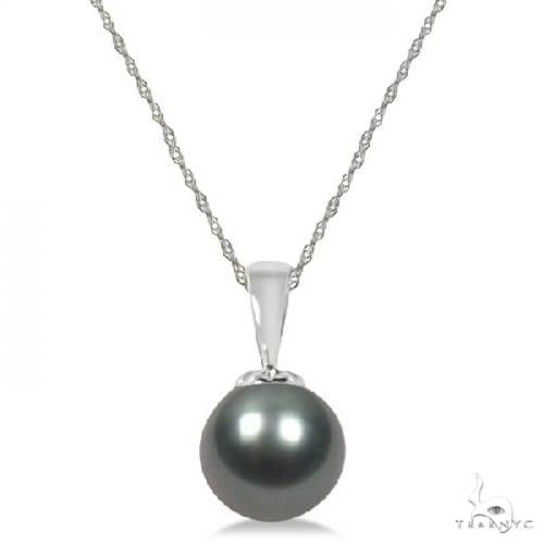 Tahitian Cultured Black Pearl Solitaire Pendant 14K White Gold 10-11mm Stone