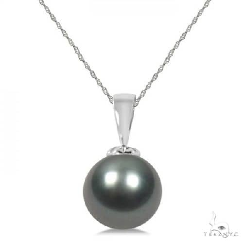 Tahitian Cultured Black Pearl Solitaire Pendant 14K White Gold 11-12mm Stone