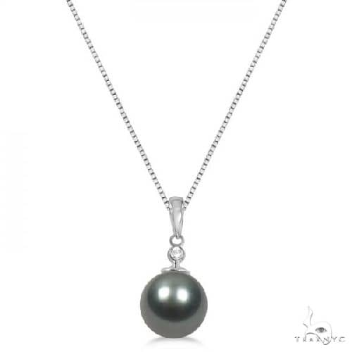 Solitaire Diamond and Tahitian Pearl Pendant 14K White Gold 10-11mm Stone