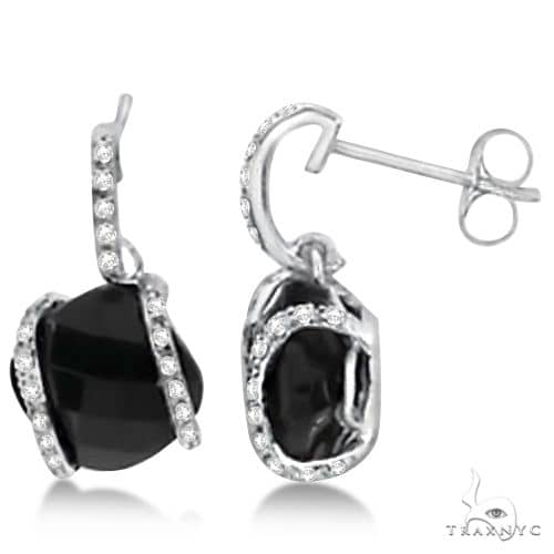 Cushion Cut Black Onyx Earrings with Diamonds 14K White Gold 3.25ct Stone