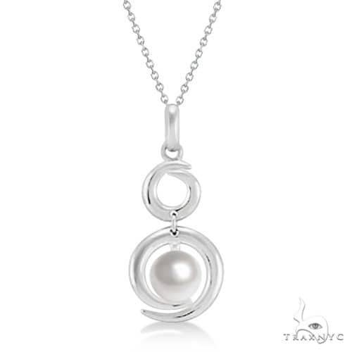Cultured Freshwater Pearl Double Circle Pendant Sterling Silver Stone