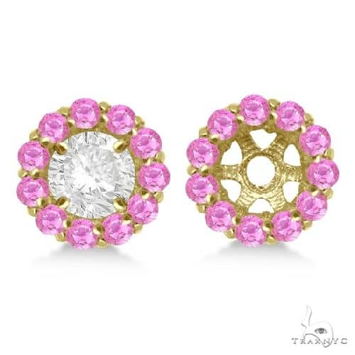 Round Pink Sapphire Earring Jackets 5mm Studs 14K Yellow Gold Stone