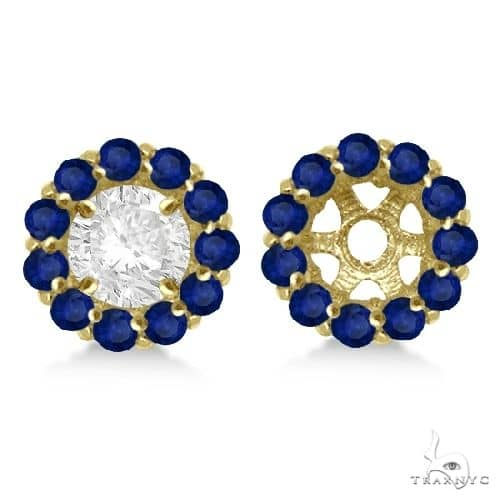 Round Blue Sapphire Earring Jackets 6mm Studs 14K Yellow Gold Stone