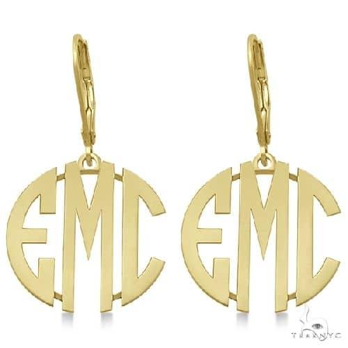 Bold 3 Initials Monogram Earrings in 14k Yellow Gold Metal