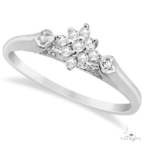 Flower Ladies Diamond Cluster Promise Ring 14K White Gold Anniversary/Fashion