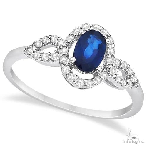 Oval Halo Sapphire and Diamond Engagement Ring 14K White Gold (1.16ct) Anniversary/Fashion