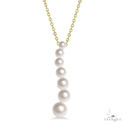 Cultured Freshwater Pearl Journey Necklace 14K Yellow Gold 3.50-6.50mm Stone