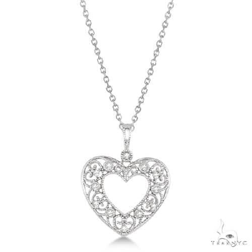 Diamond Necklace Heart Design with Filigree in Sterling Silver Diamond