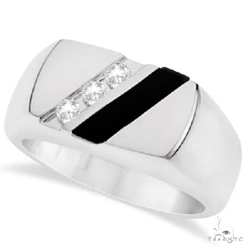 Mens Black Onyx and Channel Set Diamond Ring Sterling Silver Stone