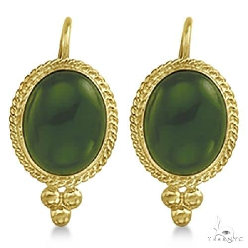 Oval Jade Earrings Bezel Set Lever Backs Antique Style 14k Yellow Gold Stone