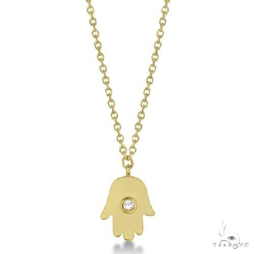 Ladies Hamsa Necklace with Round Diamond Accent 14k Yellow Gold Diamond