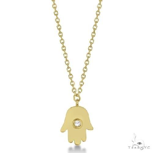 Ladies Hamsa Necklace with Round Diamond Accent 14k Yellow Gold Diamond