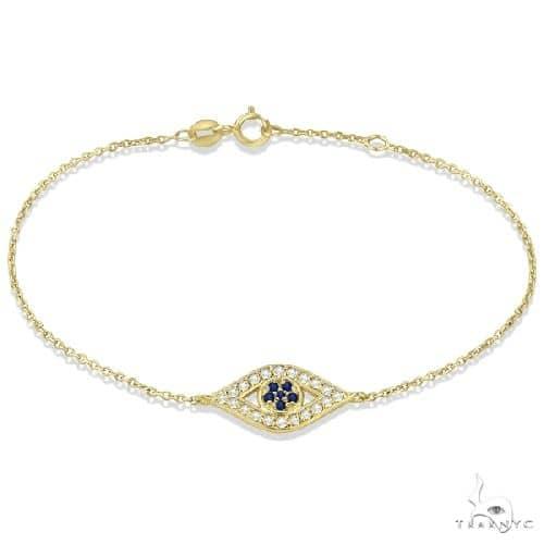 Blue Sapphire Evil Eye Diamond Bracelet in 14k Yellow Gold Gemstone & Pearl