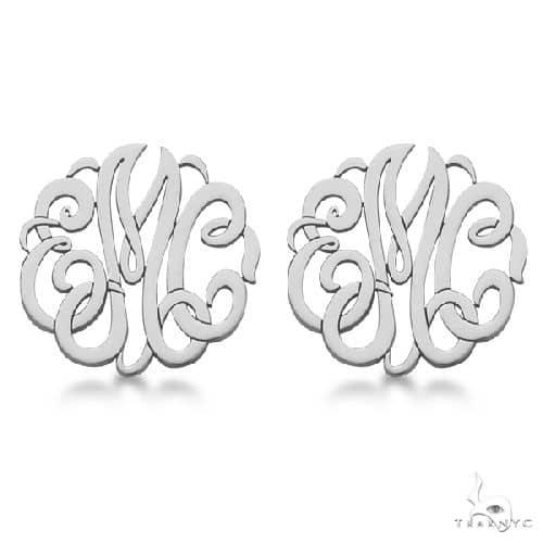 Personalized Monogram Post-Back Stud Earrings in 14k White Gold Metal