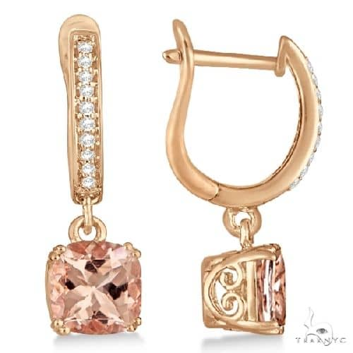 Morganite and Diamond Earrings Sterling and 14k Rose Gold Plating Stone