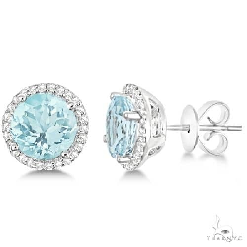 Round Aquamarine and Diamond Halo Stud Earrings 14k White Gold Stone