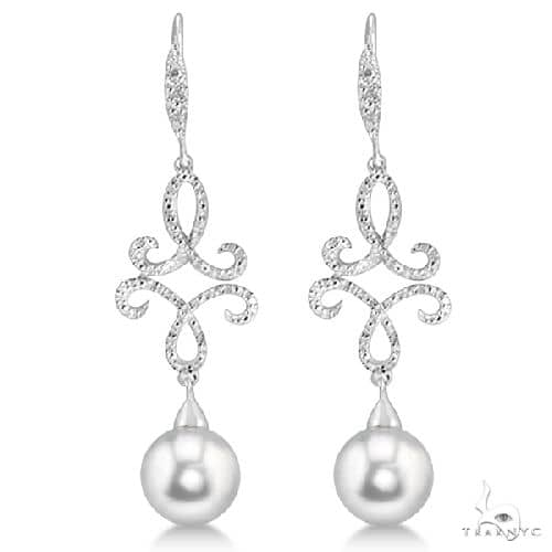 Diamond and Freshwater Pearl Dangle Earrings Sterling Silver 8mm 0.138ct Stone