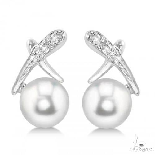 Freshwater Pearl and Diamond X Earrings 14k White Gold 5.5-6mm Stone