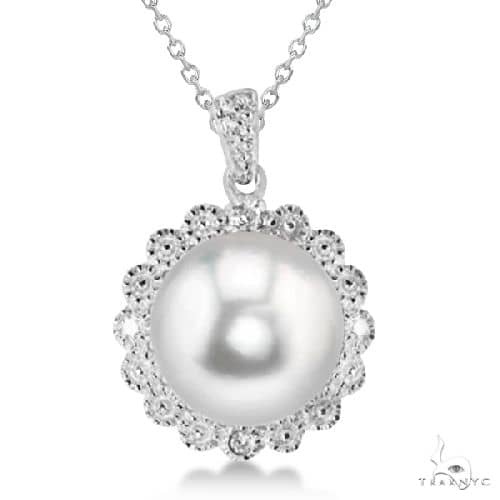 Freshwater Pearl and Diamond Floral Pendant Necklace Sterling Silver Stone