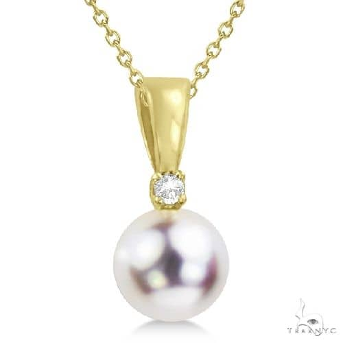 Akoya Pearl Solitaire Pendant Necklace 14k Yellow Gold 6-6.5mm Stone