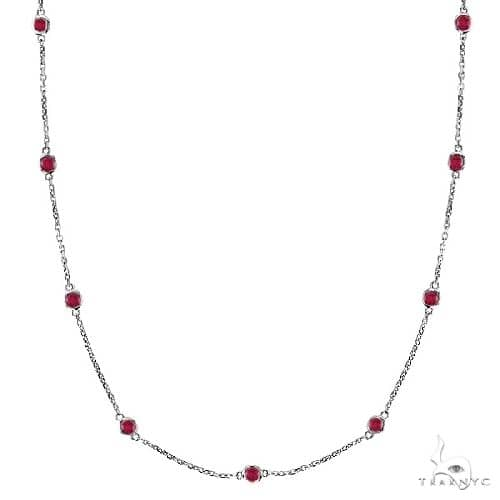 Rubies Gemstones by The Yard Station Necklace 14k White Gold Gemstone