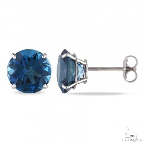 London Blue Topaz Solitaire Stud Earrings in 14k White Gold Stone