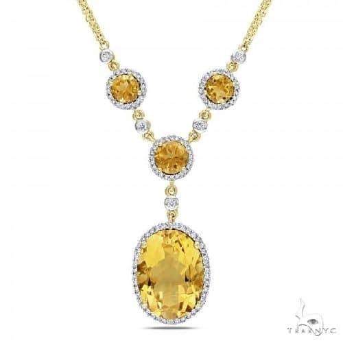 Oval Citrine Halo Diamond Vintage Necklace 14k Yellow Gold Gemstone