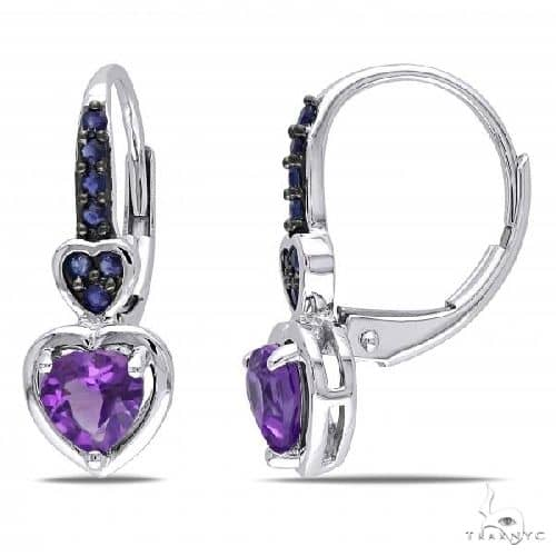 Amethyst and Sapphire Heart Drop Earrings 14k White Gold (0.80ct) Stone