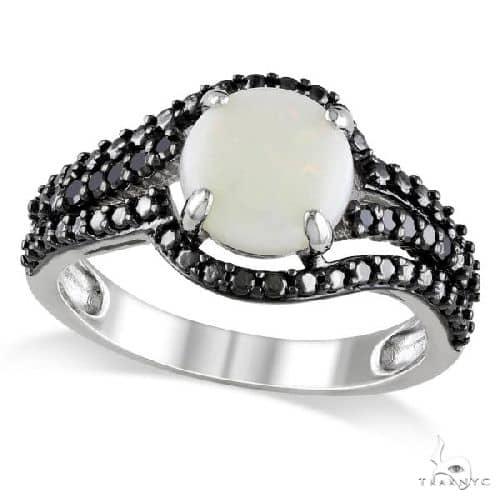 White Opal w/ Black Diamond Side Stones Ring Sterling Silver Anniversary/Fashion