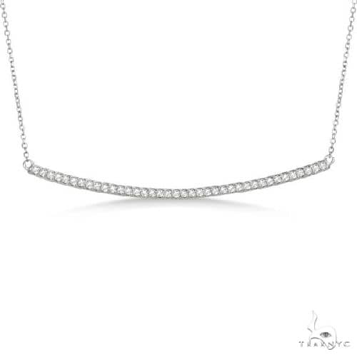 Pave Set Slightly Curved Round Diamond Bar Necklace 14k White Gold Stone