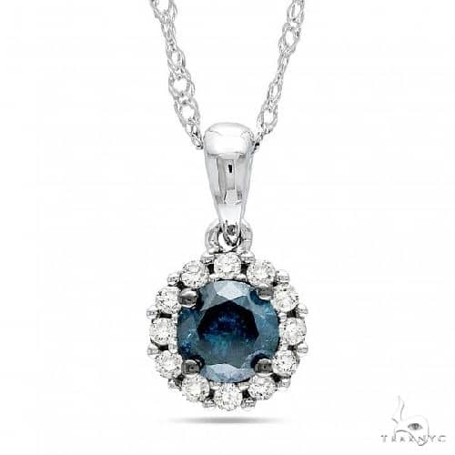 Blue and White Diamond Halo Pendant Necklace 14k White Gold Diamond
