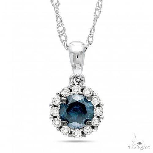 Blue and White Diamond Halo Pendant Necklace 14k White Gold Diamond