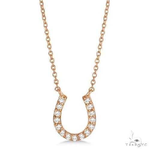Pave Set Diamond Horseshoe Pendant Necklace 14k Rose Gold Stone