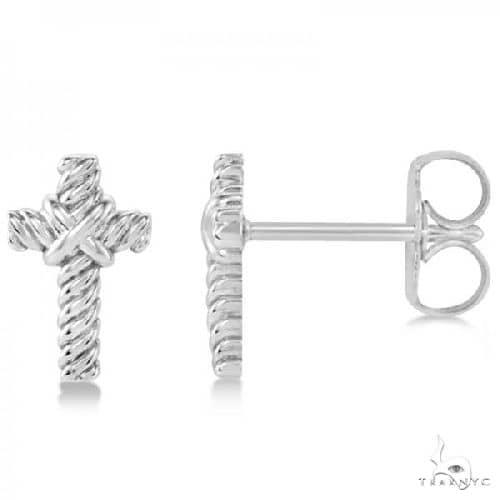 Cross Rope Stud Earrings in Plain Metal 14k White Gold Metal