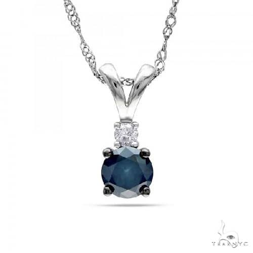 Blue Diamond and Diamond Pendant Necklace in 14k White Gold Diamond