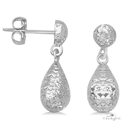 Textured Dangle Teardrop Earrings in 14k White Gold Metal