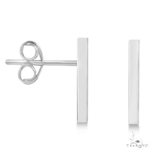 Post-Back Petite Bar Earrings 14k White Gold Metal
