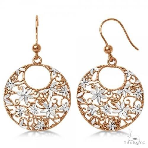 Flower Circle Dangling Drop Earrings in Rose Gold Plated Sterling Silver Metal